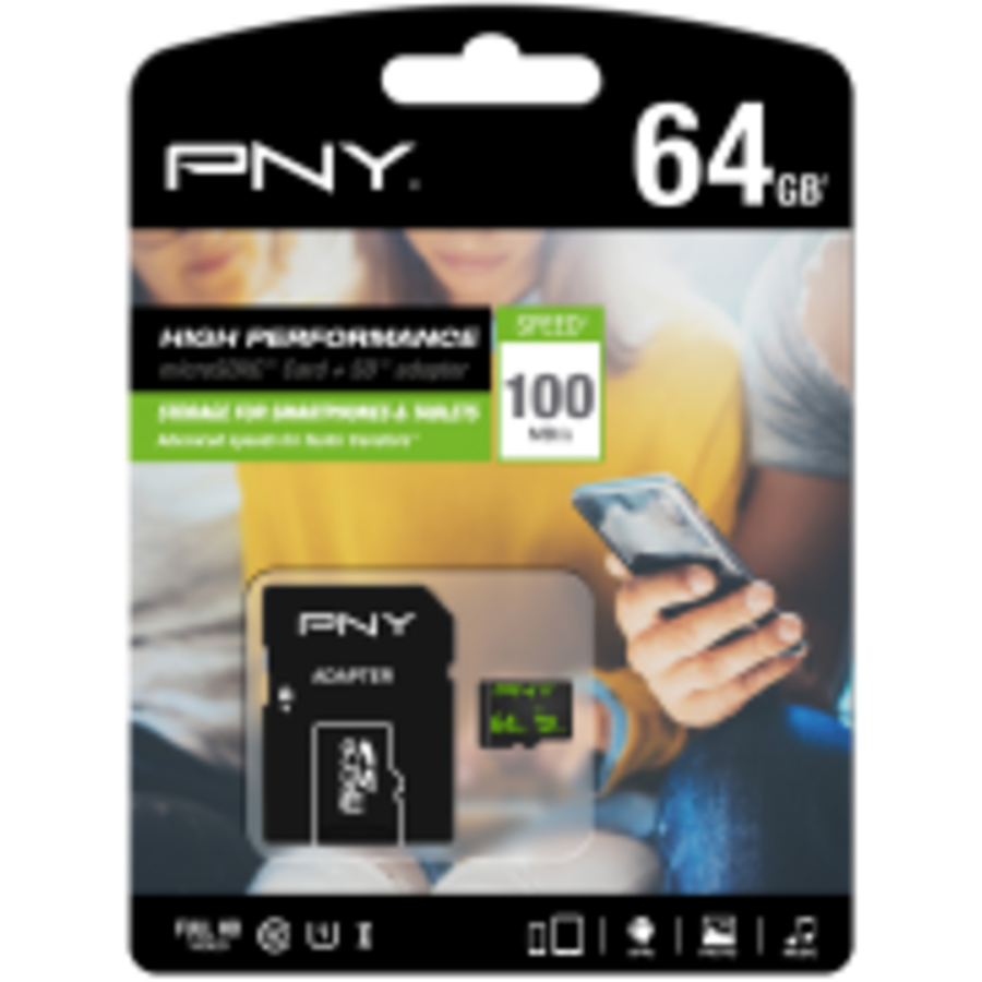 PNY Micro SD-kort 64GB inkl. SD-adapter